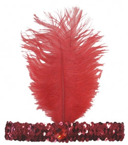 20s Headband Sequined - Red