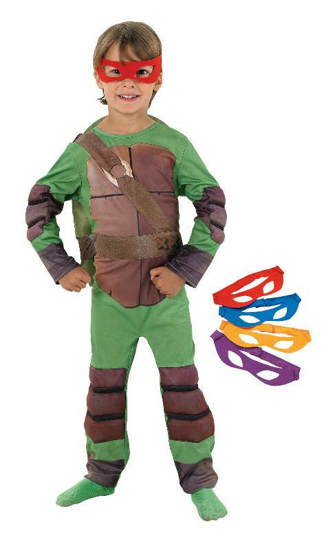 TMNT DELUXE COSTUME WITH 4 MASKS - SIZE M