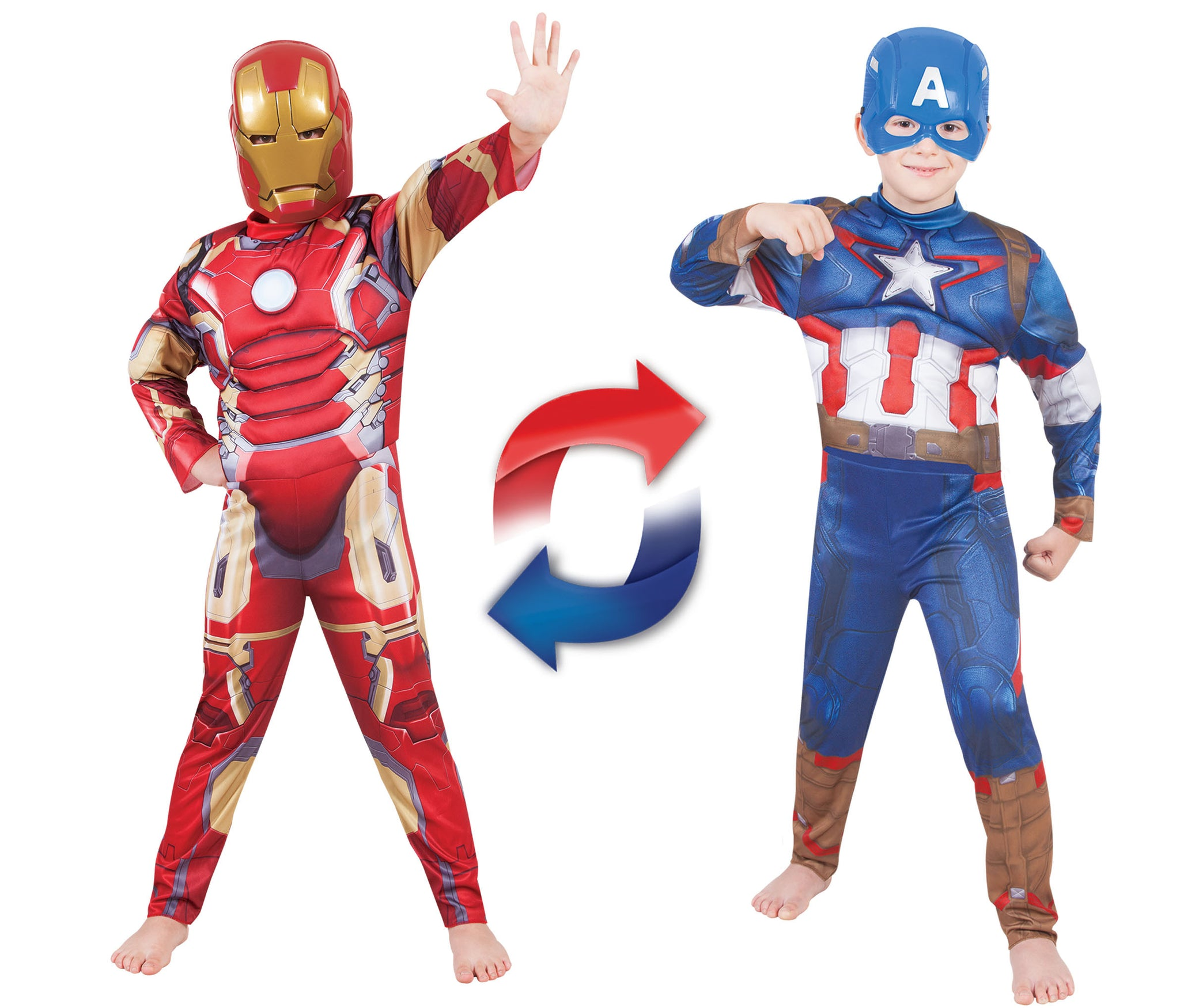 IRON MAN TO CAPTAIN AMERICA REVERSIBLE COSTUME, CHILD - SIZE 4-6