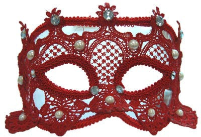 **Lace Carnival Eyemask w/Pearls - Red**