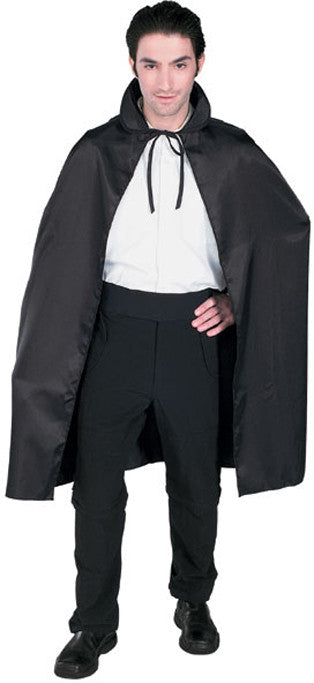 BLACK SATIN CAPE, ADULT - ONE SIZE FITS ALL