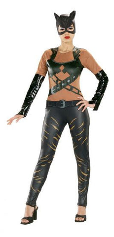 CATWOMAN LEATHER LOOK COSTUME, ADULT - SIZE L