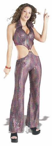 DISCO QUEEN JUMPSUIT COSTUME, ADULT - SIZE L