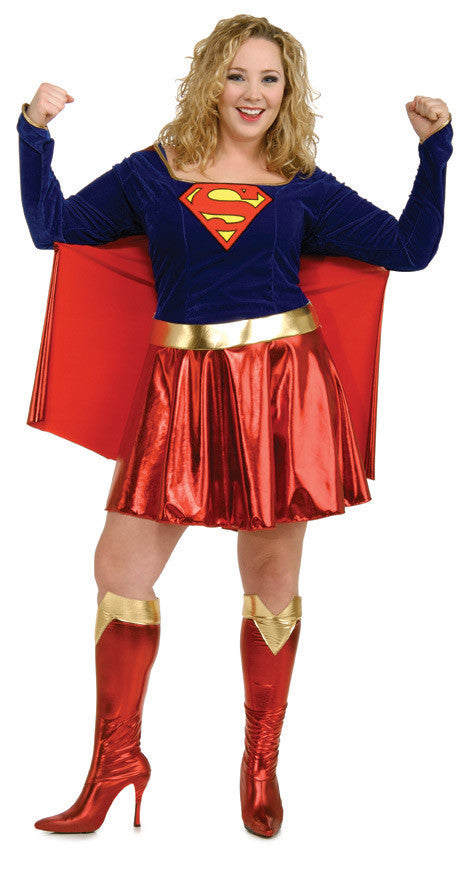 SUPERGIRL COSTUME, ADULT - SIZE PLUS
