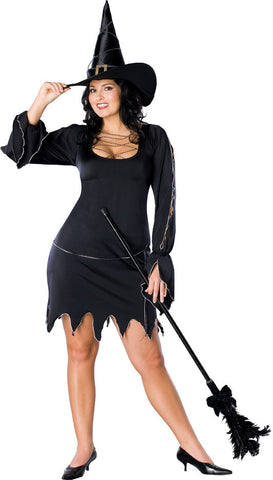 WITCH COSTUME BLACK CLASSIC, ADULT - SIZE STD