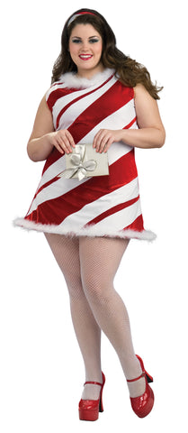 MS CANDY CANE CHRISTMAS COSTUME, ADULT - SIZE PLUS