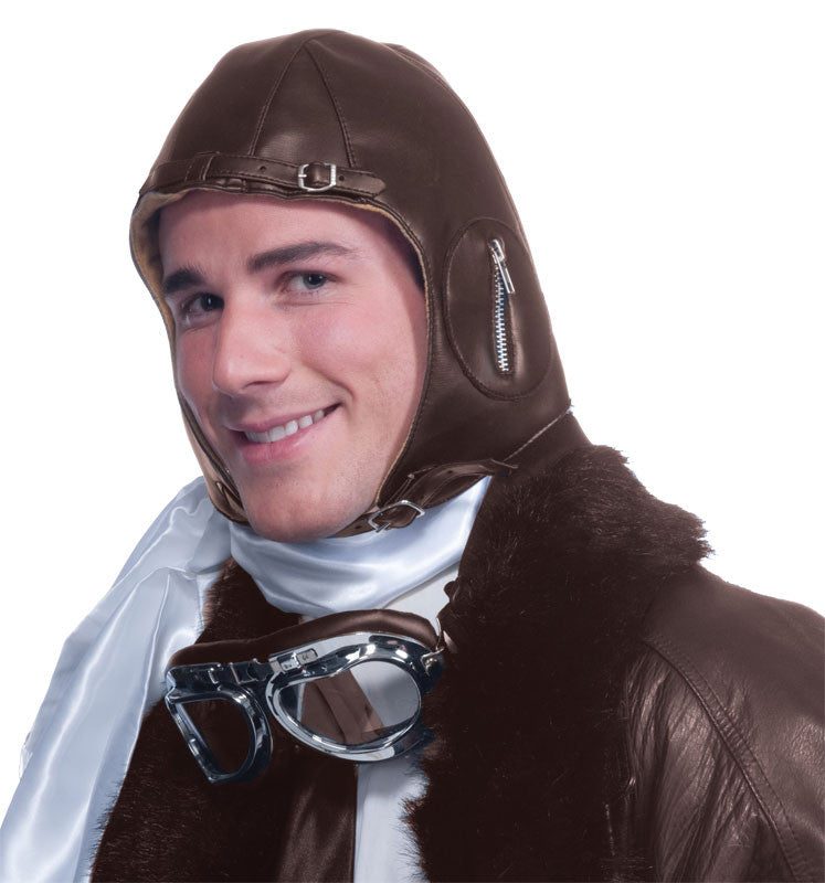 Deluxe Faux Leather Aviator Helmet - Brn