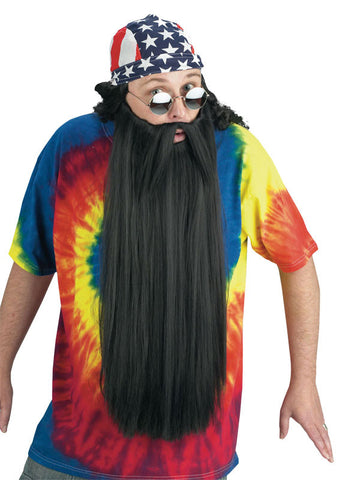 Extra Long Beard w/Mustache - Black