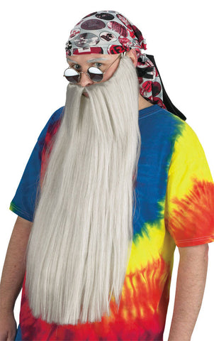 Extra Long Beard w/Mustache - Grey