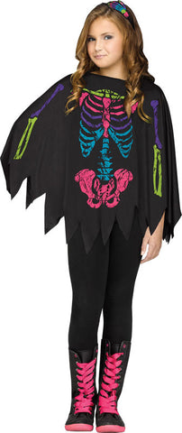 Child Skeleton Poncho - Colour Skeleton