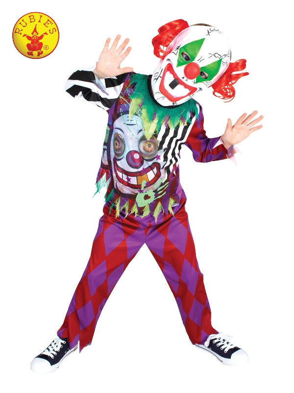 GLOW IN THE DARK CLOWN COSTUME, CHILD - SIZE L