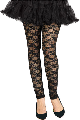 Footless 80s Lace Leggings - Black