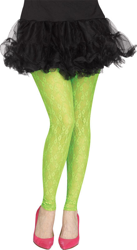 Footless 80s Lace Leggings - Neon Green