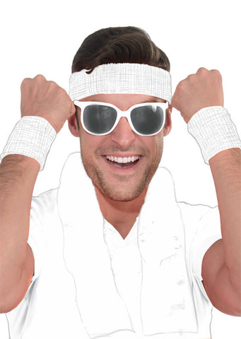 Sweat Wristbands & Headband Set - White