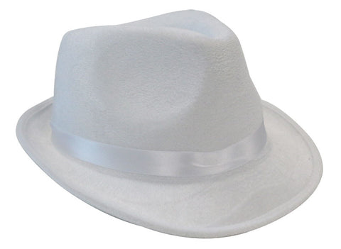 Deluxe Fedora Gangster Hat - White