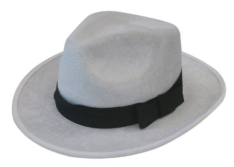 Deluxe Velour Gangster Hat - White