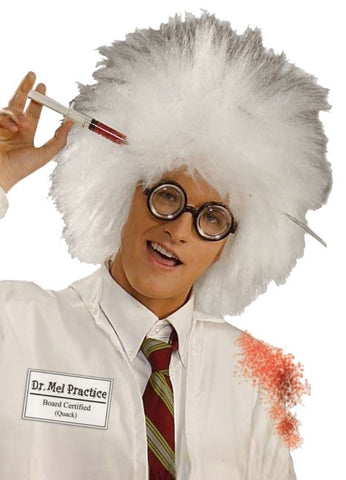 MAD SCIENTIST WIG WHITE, ADULT SIZE