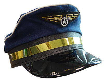 Pilot Hat - Blue with Gold Trimming