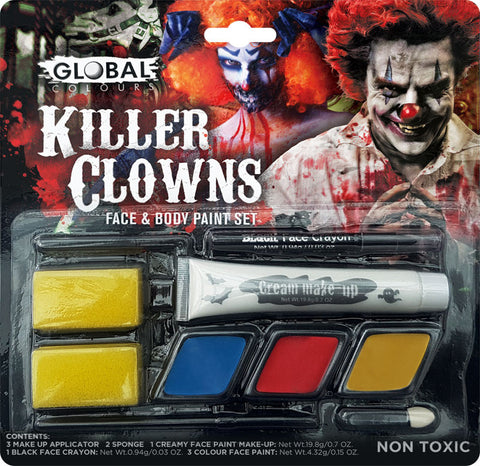 GLOBAL KILLER CLOWN MAKEUP SET, ALL AGES