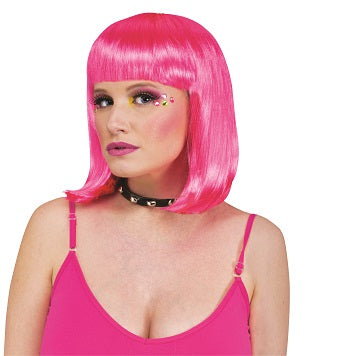 HOT PINK RAVE WIG, ADULT SIZE