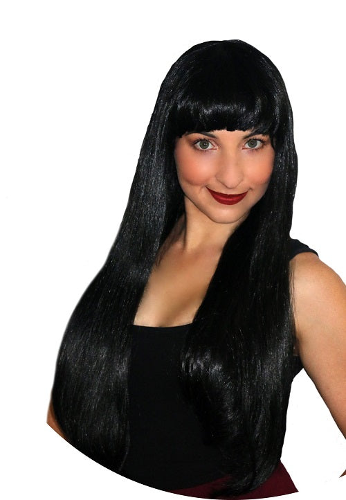 Deluxe Long Black with Fringe Wig