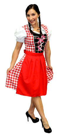 OKTOBERFEST RED BEER MAIDEN COSTUME, ADULT - SIZE SM/M