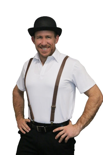 Leather Look Suspenders - Brown