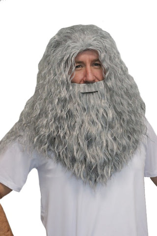 Deluxe Wizard Beard & Wig Set - Grey