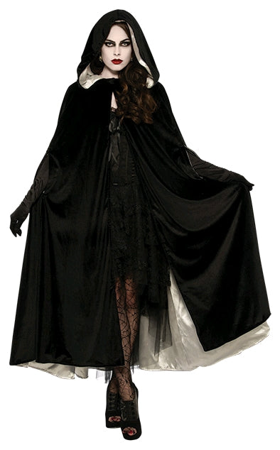 REVERSIBLE BLACK AND WHITE VELVET CAPE, ADULT - SIZE STD