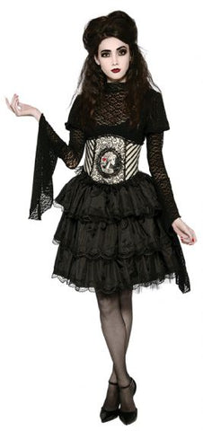 BLACK HALLOWEEN RUFFLE SKIRT, ADULT