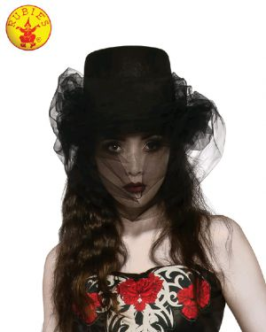BLACK HALLOWEEN TOP HAT AND VEIL, ADULT - SIZE STD