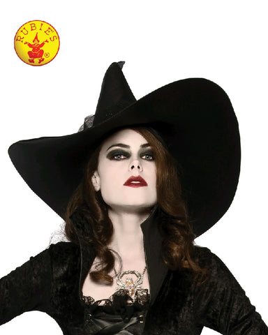 BIG BLACK WITCH HAT, ADULT - SIZE STD