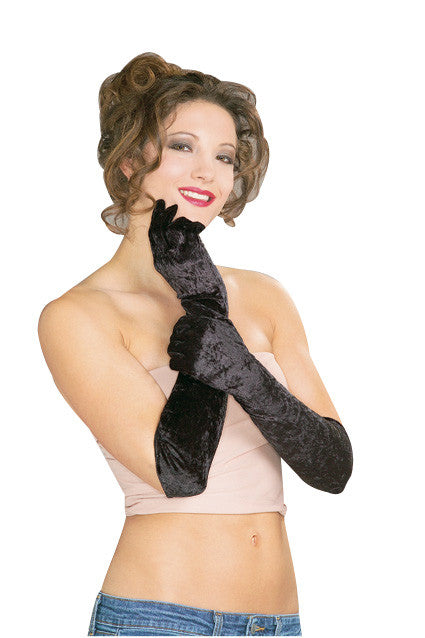 LONG VELVET GLOVES - BLK