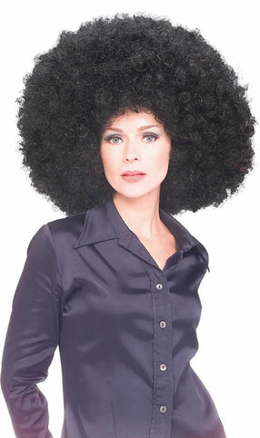 BIG BLACK 70S AFRO WIG, ADULT
