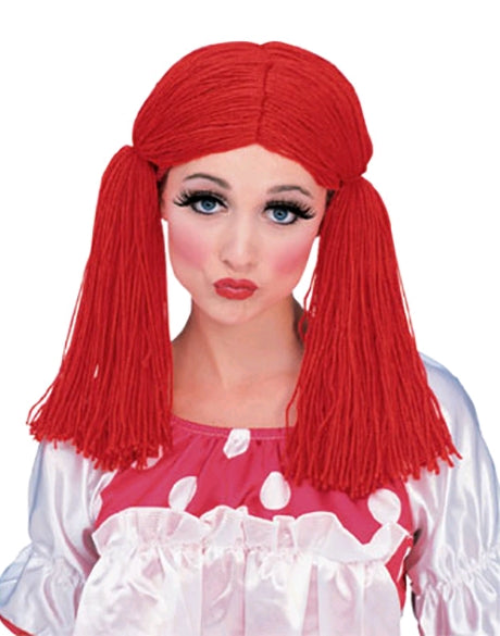 RED RAG DOLL GIRL WIG, ADULT SIZE