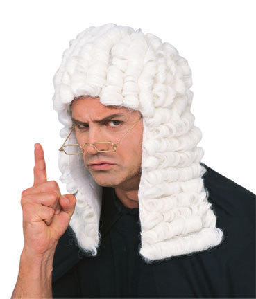 JUDGE'S WHITE COURTROOM WIG, ADULT SIZE