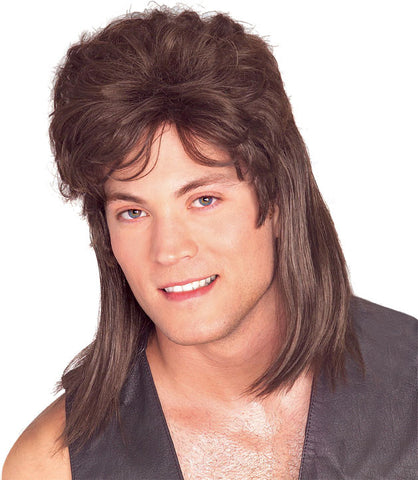 MULLET BROWN 80S WIG ADULT