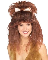 CAVEWOMAN WIG WITH BONE - ADULT