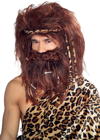 CAVEMAN WIG, BRAID & BEARD ADULT
