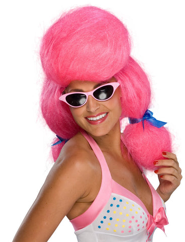 1950s PINK POODLE WIG, ADULT SIZE