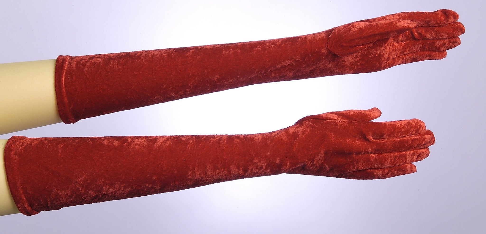 Long Velvet Red Gloves