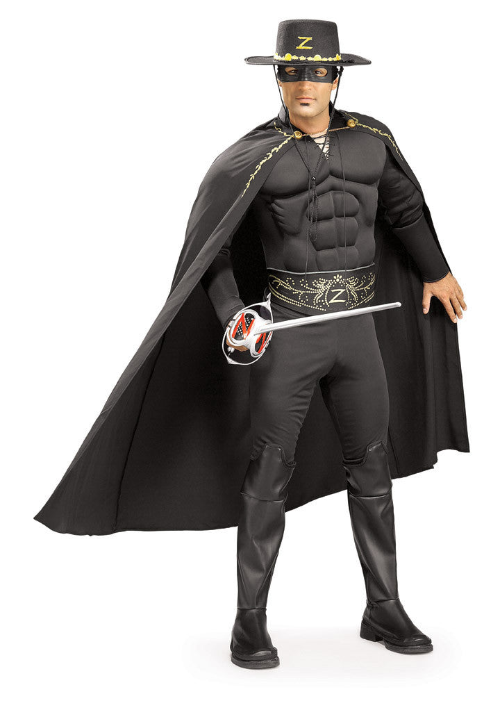 ZORRO DELUXE MUSCLE CHEST COSTUME, ADULT - SIZE STD