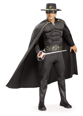 ZORRO DELUXE MUSCLE CHEST COSTUME, ADULT - SIZE XL