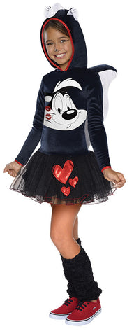 PEPE LE PEW GIRLS HOODED COSTUME - SIZE S