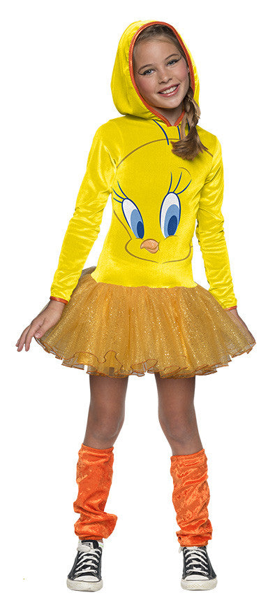 TWEETY GIRLS HOODED COSTUME - SIZE L