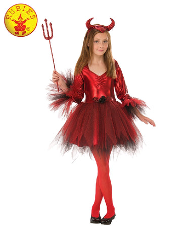 RED DEVIL GIRL COSTUME, CHILD - SIZE S