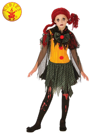 ZOMBIE GIRL CLOWN COSTUME, CHILD - SIZE M