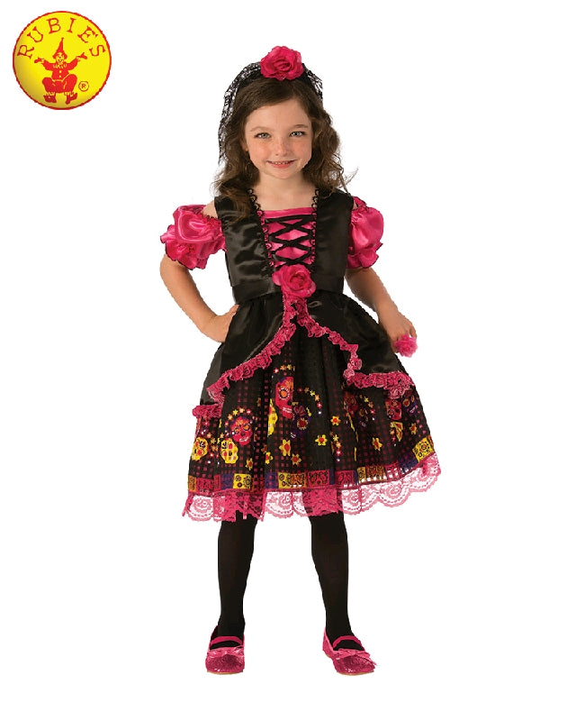 DAY OF THE DEAD GIRL COSTUME, CHILD - SIZE S