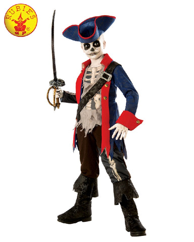 CAPTAIN BONES HALLOWEEN PIRATE COSTUME, CHILD - SIZE L