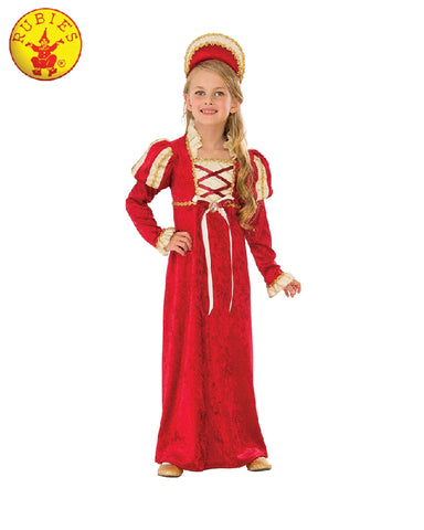 RED MEDIEVAL PRINCESS COSTUME, CHILD - SIZE S